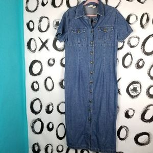 Vintage 90s Jean Dress Button Down Maxi